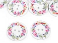 Dekorační knoflík - pastelový věnec - 30 mm