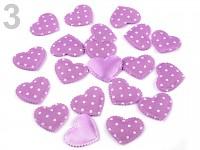 Srdíčka látková - fialová s bílými puntíky - 20ks