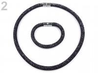 Bižuterie - dutinková souprava s krystalky - černá