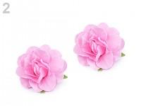 Sponky do vlasů s růží - růžové - 2ks