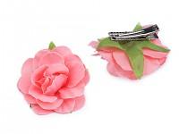 Sponky do vlasů s růží - korálové - 2ks