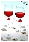 Svatební sklenice na víno se srdcem - sada 2 kusů