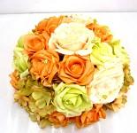 Koule z růží oranžovo-zelená  - dekorace na auto