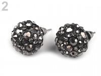 Naušnice s kamínky - černé