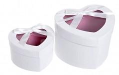 Flower (květinový) box - srdce bílé - 13 cm