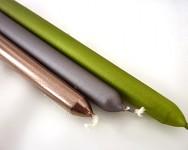 Svíčky konické - tm.zelené metalické