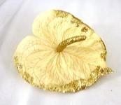 Hlavička anturie - ivory se zlatými glitry