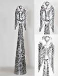 Anděl plechový se srdíčkem krajkový stříbrný -  68 cm
