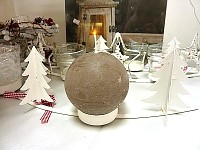 Svíčka koule - šedohnědá  8 cm