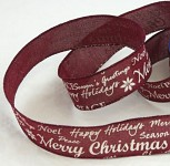 Dekorační stuha Merry Christmas - bordo - 1 m
