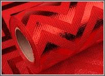 Šerpa - imitace pytloviny - červený chevron - 1m