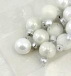 Baňky sklo závěs - 25mm - bílá perleť