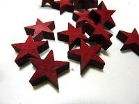 Dřevěná  hvězdička  3 cm - červená - 1ks