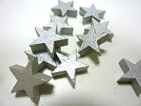 Dřevěná  hvězdička 3cm  - stříbrná - 1ks