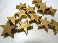 Dřevěná   hvězdička 3cm - zlatá- 1ks