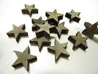 Dřevěné mini hvězdičky - šedé - 10ks