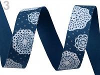 Stuha bavlněná modrá s rozetami - 16mm/1m