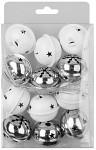 Rolnička lux s vločkou a hvězdami - bílá - 4 cm