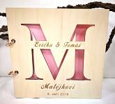 Svatební kniha hostů - čtverec - dřevěná s monogramem