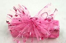 Organza stuha - růžová tisk