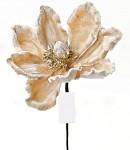 Květ poinsettia  - capuccino s glitry - 23 cm