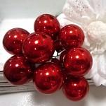 Baňky na drátku jasně červené 25 mm - 1ks - lesklé