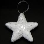 Hvězda polystyrén závěs - bílá - glitter