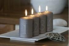 Svíčka válec metalik - adventní s čísly -  šedohnědé - 4ks