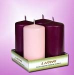 Svíčka válec metalik - adventní s čísly -  fialové - 4ks