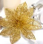 Květ poisentie - zlatý krajkový s glitry - velký