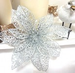 Květy poisentie mini - stříbrný krajkový s glitry - 3ks