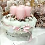 Adventní dekorace - stříbrno-růžový srdíčkový boxík