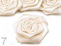 Saténový květ růže - 5 cm - krémový