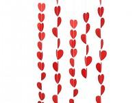 Girlanda papírová - červená srdíčka - 3m