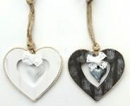 Srdce dřevěné s plechovým srdíčkem - šedé