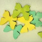 Dřevění motýlci 4cm - žlutozeleno-modrý mix - 6 ks