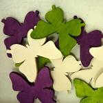 Dřevění motýlci 4cm - barevný mix - 12ks