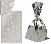 Celofánový sáček stříbrný s vločkami na lince