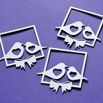 Chipboard - výsek - rámeček s ptáčky  - 3ks