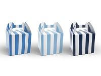 Krabička na bonbony - modré pruhy - 6ks