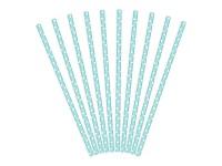 Brčka - papírová - azurová s puntíky - 12ks