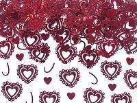 Konfety - červená krajková srdíčka