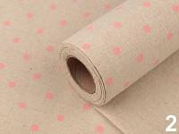 Jutová šerpa natural - s růžovými puntíky - 1 m
