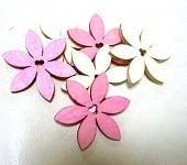 Dřevěné kytičky cípaté  -  mix růžovo bílý - 6 ks