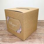 Krabička na peníze (přání) - kraftová s růžemi - Děkujeme