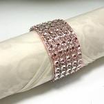 Diamantový kroužek na ubrousky starorůžový - 1 ks