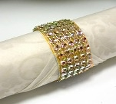 Diamantový kroužek na ubrousky zlatý - 1 ks
