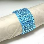 Diamantový kroužek na ubrousky tyrkysový - 1 ks