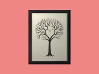 Svatební strom hostů - černý rám - 54 x 74 cm