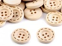 Dřevěný knoflík prošívaný - 1ks